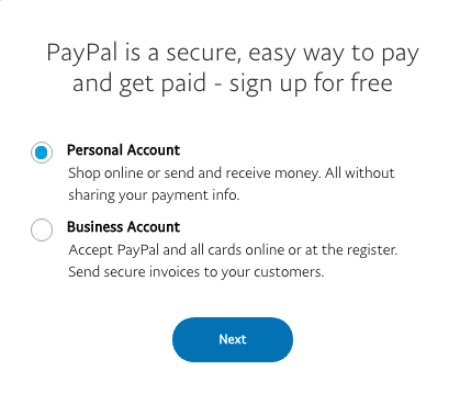 PayPal casinos signup step
