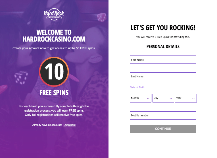 Hard Rock Casino signup