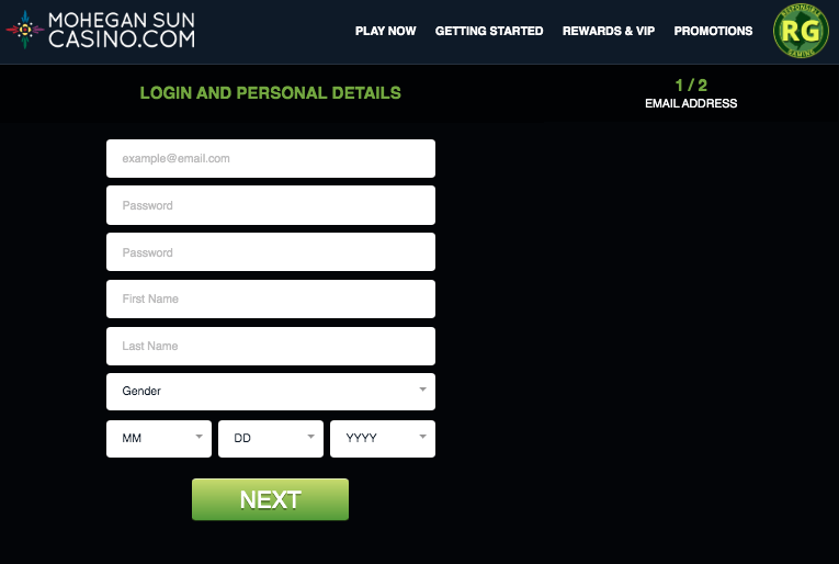 Mohegan Sun Online Casino Signup Step 1
