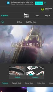 bet365 Mobile Casino Homepage