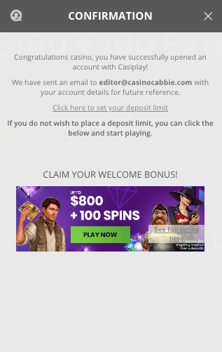 Casiplay Casino signup step 3