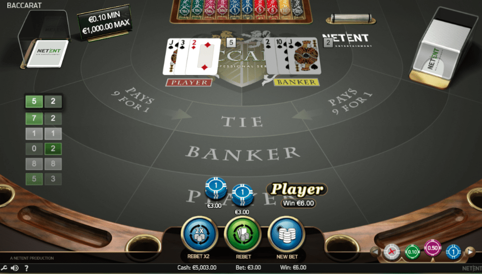 Play baccarat at NetEnt Casinos
