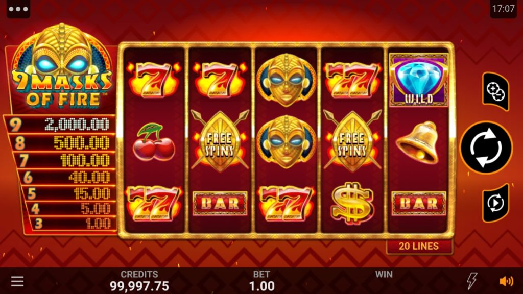 Play 9 Masks of Fire slot at Microgaming Casinos online