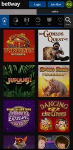 Betway USA mobile casino games